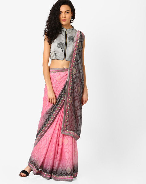 Saree With Woven Border By Pihu ( Pink )