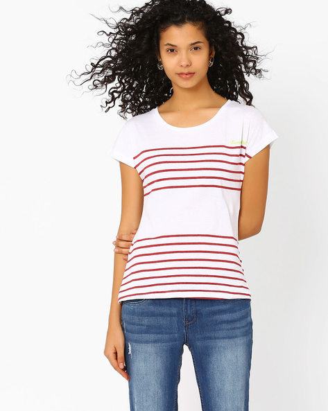 Striped T-shirt With Short Extended Sleeves By Teamspirit ( Red )