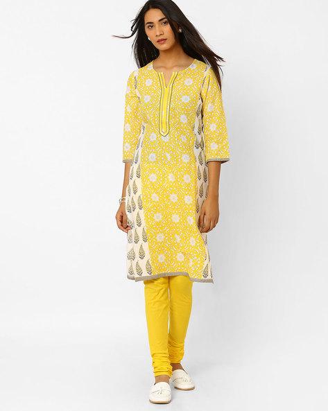 Floral Print Churidar Kurta By AVAASA SET ( Yellow )