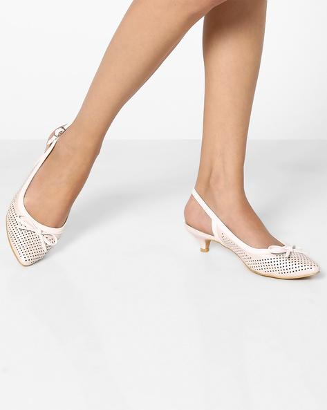 Laser-Cut Kitten Heels With Bow By AJIO ( White )