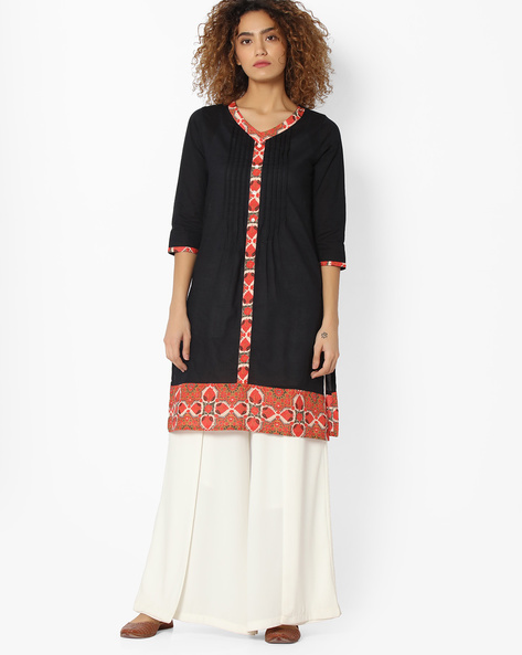 Straight Kurta With Button Placket By FUSION ( Black )