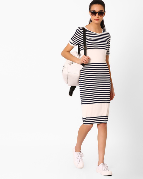 Striped Bodycon Dress By AJIO ( Offwhite )