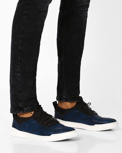 Faux-Leather Lace-Up Sneakers By AJIO ( Blue )