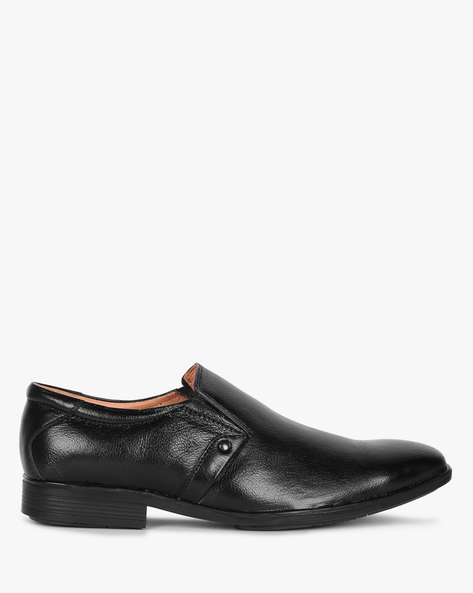 Textured Slip-On Formal Shoes By Buckle Up ( Black )