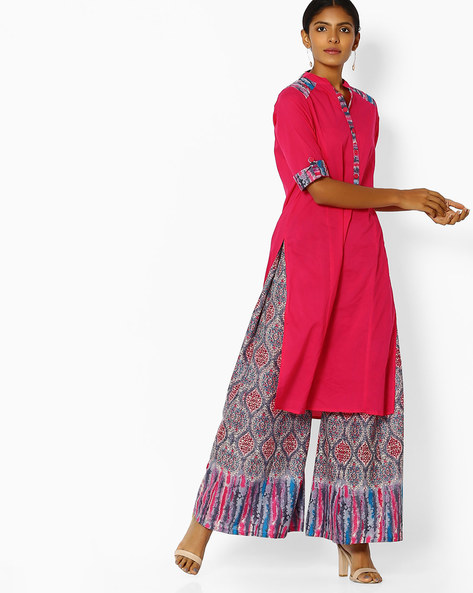 Collared Straight Kurta With Palazzos By Purple Tree ( Pink )