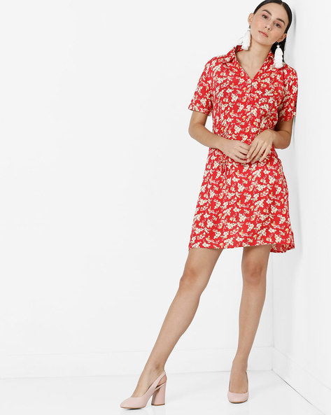 Floral Print A-line Dress With Shirt Collar By AJIO ( Red )