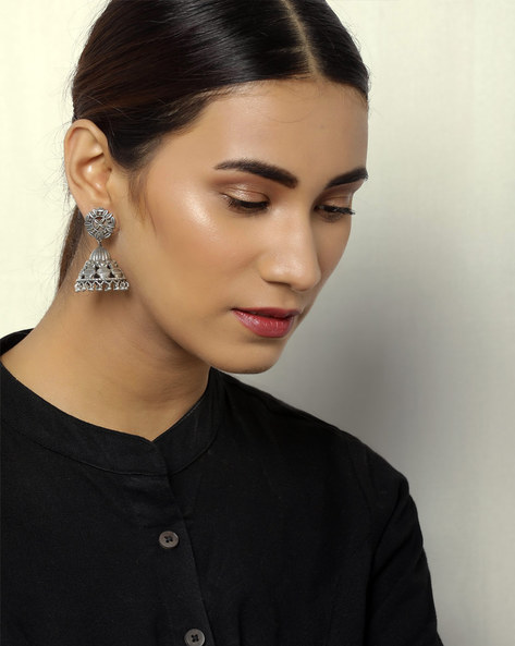 Oxidised Silver Floral Brass Jhumkas By Indie Picks ( Silver ) - 460059264001