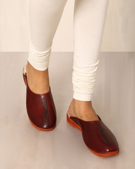 Rajasthani Handmade Genuine Leather Flat Shoes By Indie Picks ( Maroon )