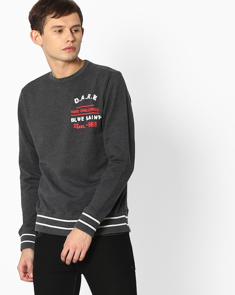 Slim Fit Sweatshirt With Ribbed Hemline By Blue Saint ( Black )