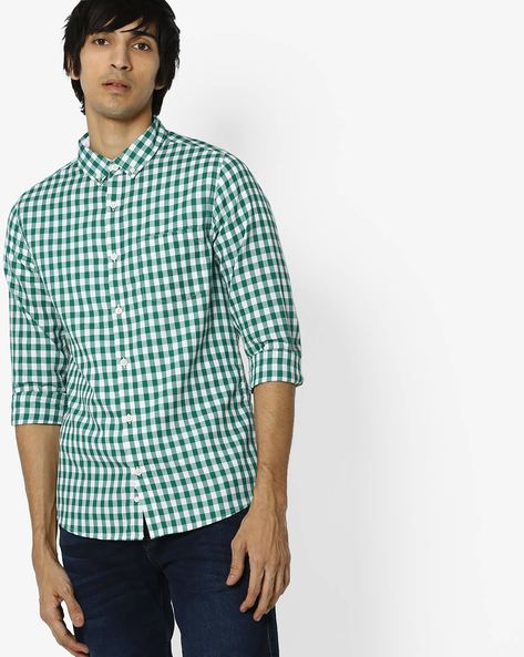 Checked Button-Down Shirt With Patch Pocket By UNITED COLORS OF BENETTON ( Green )