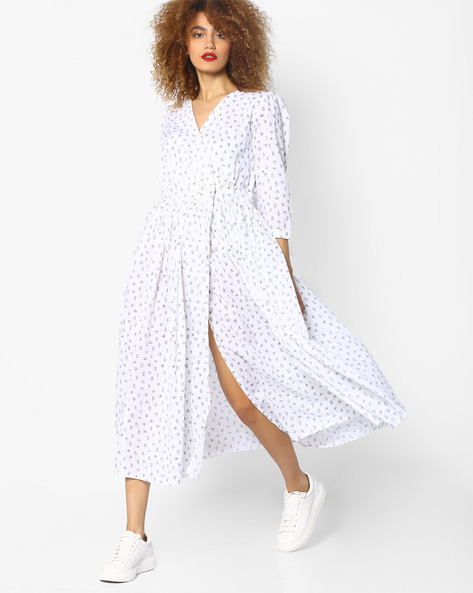 Printed Dress With Surplice Neckline By AJIO ( White )