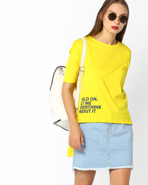 High-Low T-shirt With Drop-Shoulder Sleeves By AJIO ( Yellow )
