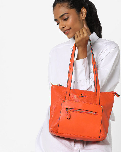 Skylon Textured Tote Bag With Detachable Sling By Lavie ( Orange )