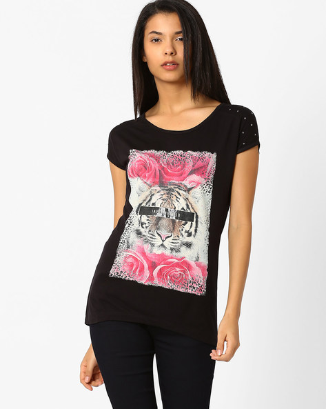 Printed T-shirt With Embellished Sleeves By SF Jeans By Pantaloons ( Black )