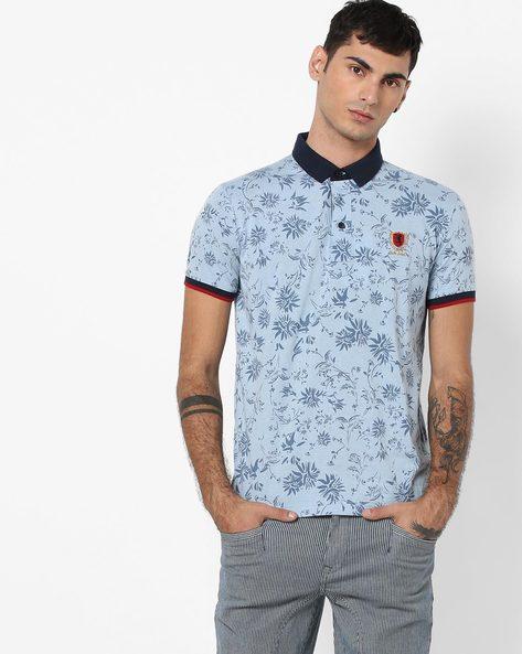 Tropical Print Polo T-shirt By DUKE ( Blue )