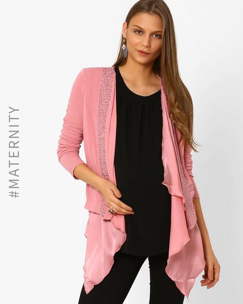 Embellished Maternity Shrug By AJIO ( Pink )