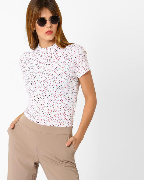 Ditsy Print Top With Back Cutout By AJIO ( White )