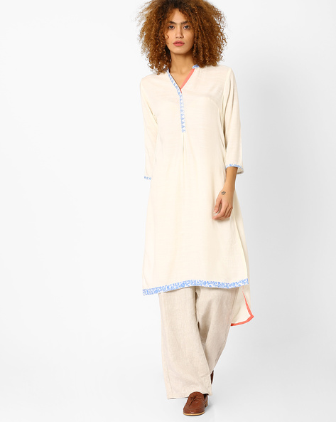 High-Low Kurta With Embroidery By AJIO ( Offwhite )