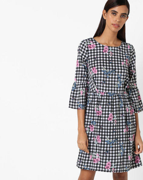 Checked Floral Print Dress By Oxolloxo ( Multicolor )