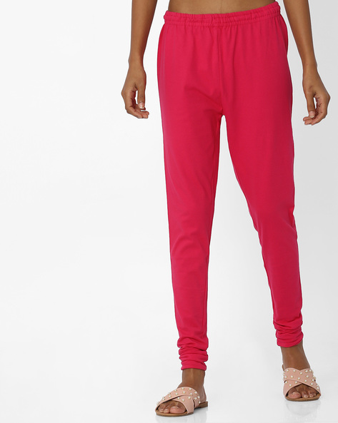 Cotton Churidar Leggings With Elasticated Waistband By W ( Pink )