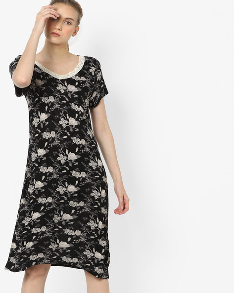 Floral Print Night Dress By Ginger By Lifestyle ( Black )