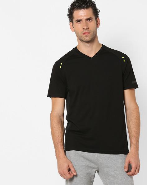 V-neck T-shirt With Raglan Sleeves By PERFORMAX ( Black )