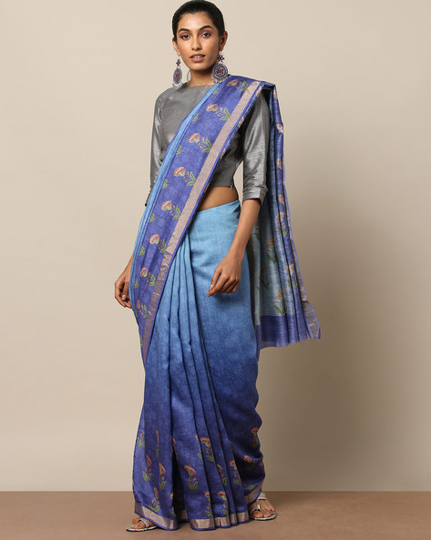 Pure Silk Tussar Printed Saree With Zari Border By Rudrakaashe-MSU ( Blue )