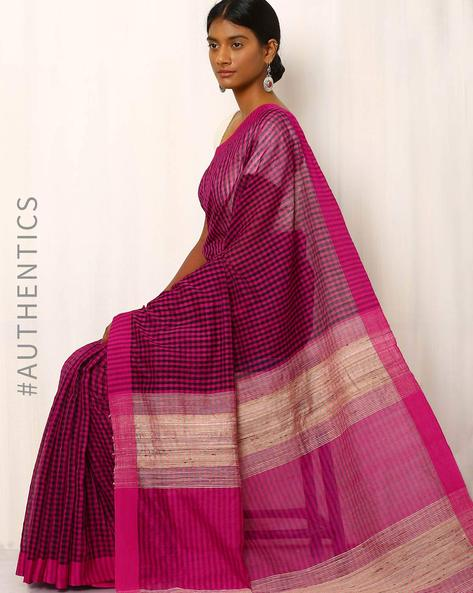 Handwoven Cotton Saree With Ghicha Pallu By Meenakari ( Pink )