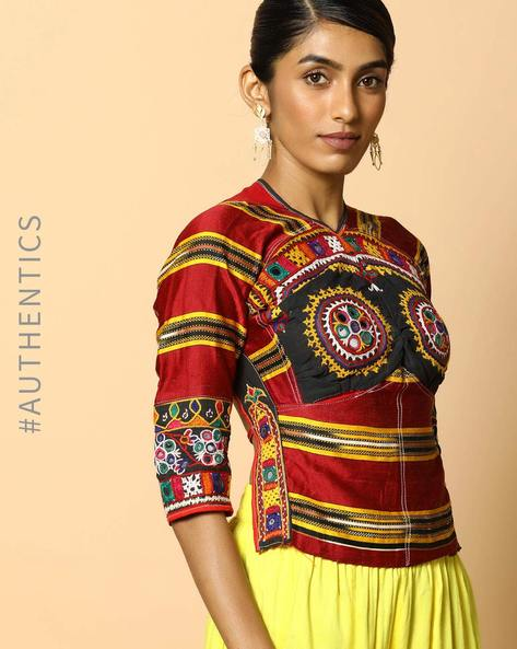 Kutch Embroidered Backless Blouse By Indie Picks ( Multi ) - 460103655001