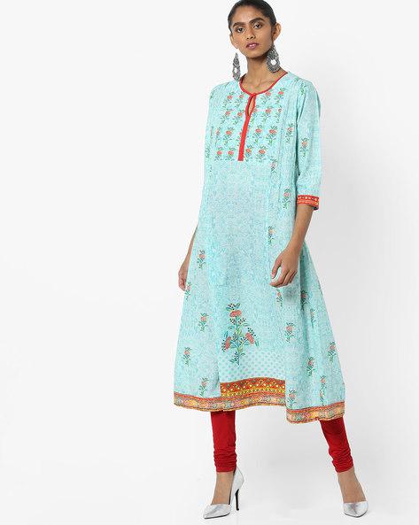 Floral Print Cotton Kurta By Biba ( Turquoise )