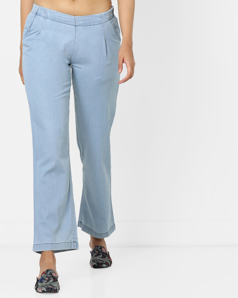 Single-Pleat Denim Palazzos By AJIO ( Lightblue )