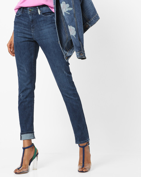 Skinny Fit Distressed Jeans By Lee ( Blue )