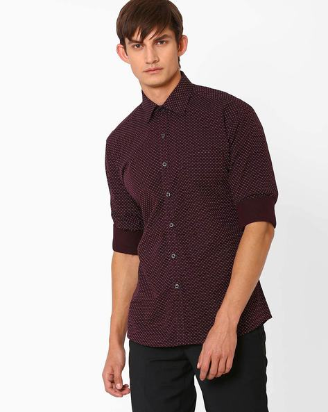 Printed Cotton Shirt By NETWORK ( Maroonburg )