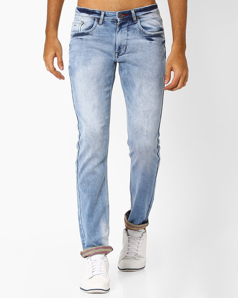 Mid-Rise Jeans With Washed Effect By DNMX ( Mediumblue )