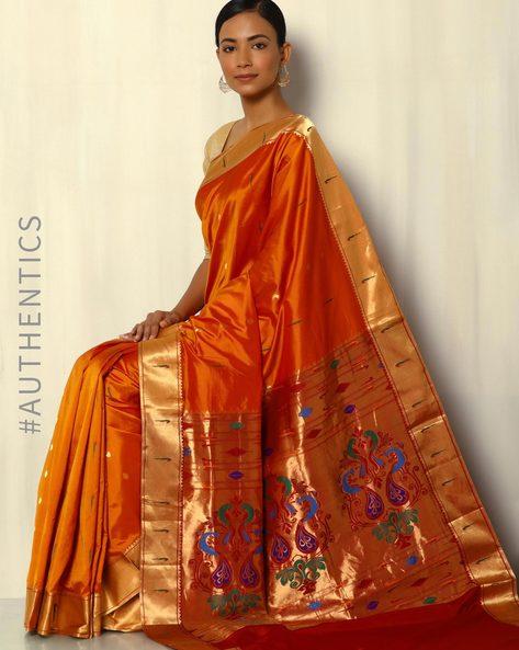 Handloom Paithani Pure Silk Saree With Zari Border By Pretty Woman ( Rust )