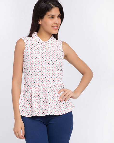 Printed Peplum Top By Candies By Pantaloons ( White )