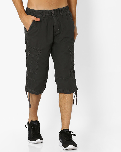 Regular Fit 3/4th Pants With Flap Pockets By TEAM SPIRIT ( Charcoal )