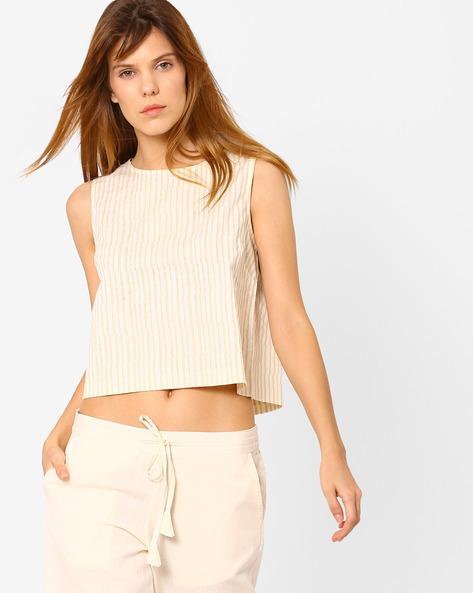 Striped Cotton Crop Top By AJIO ( Beige )