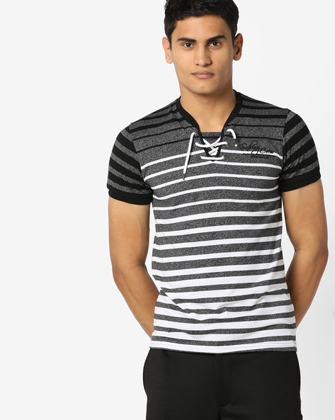 Striped T-shirt With Front Tie-Up By Teamspirit ( Black )