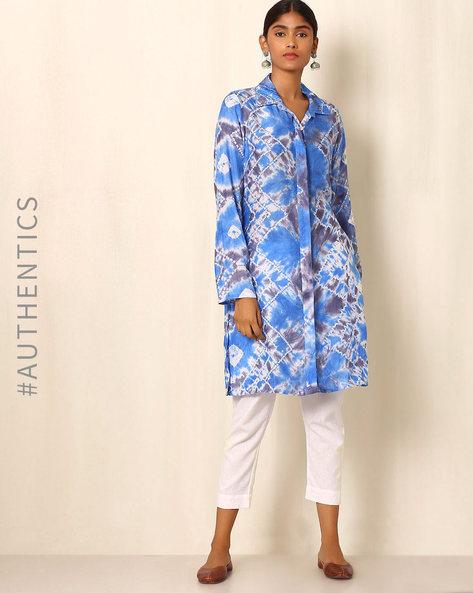 Shibori Cotton Silk Kurta By Ek Taara ( Blue )