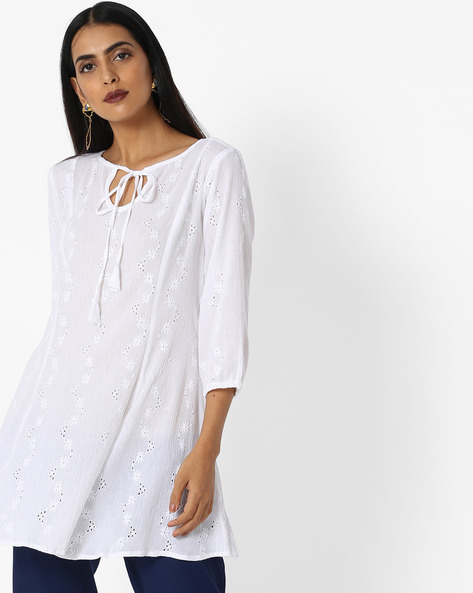 Embroidered Top With Tie-Up By AYAANY ( White )