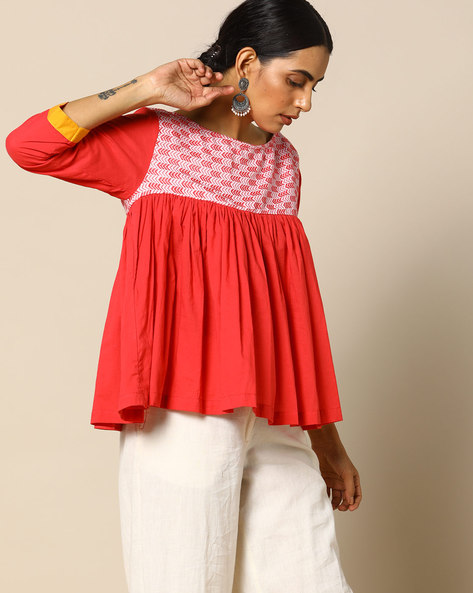 Handloom Cotton Top With Printed Yoke By Free Living ( Red )