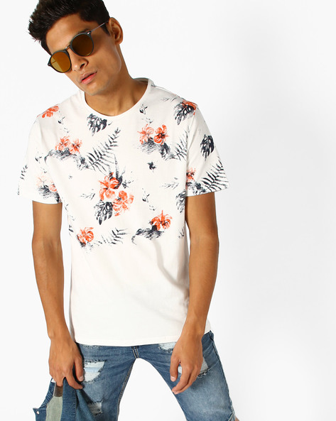 Floral Print Crew-Neck T-shirt By AJIO ( Offwhite )