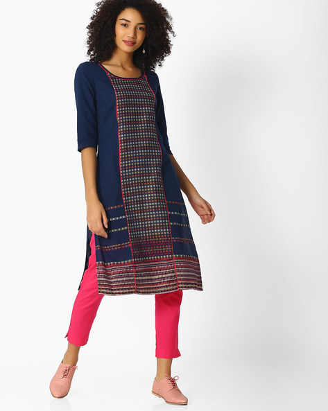 Printed Straight Kurta With Contrast Piping By AURELIA ( Blue )