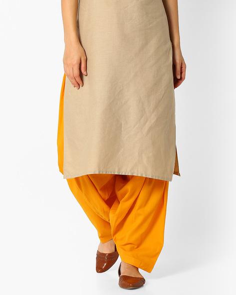 Cotton Patiala Pants By Stylenmart ( Gold )