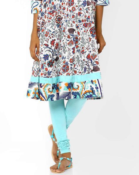 Churidar Leggings With Elasticated Waistband By AJIO ( Blue ) - 460008211013