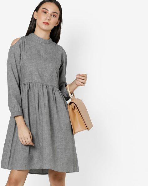 Grindle Shift Dress With Cold Shoulders By Project Eve WW Casual ( Grey )