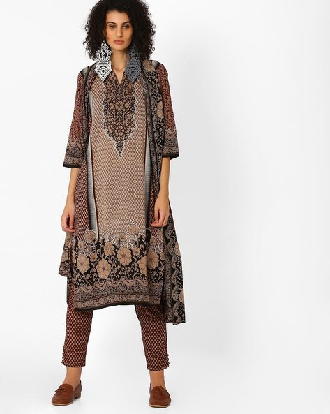 Printed Kurta With Pant And Dupatta By Uptowngaleria ( Brown )