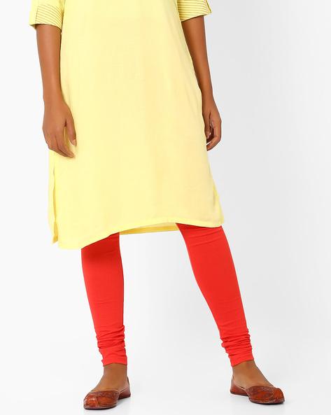 Cotton Churidar Leggings By AURELIA ( Orange )