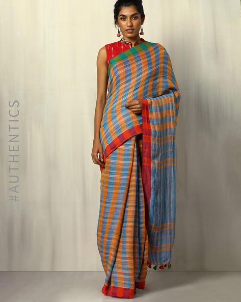 Handloom Bengal Pure Linen Checked Saree With Tassels By Indie Picks ( Multicolour ) - 460107176001